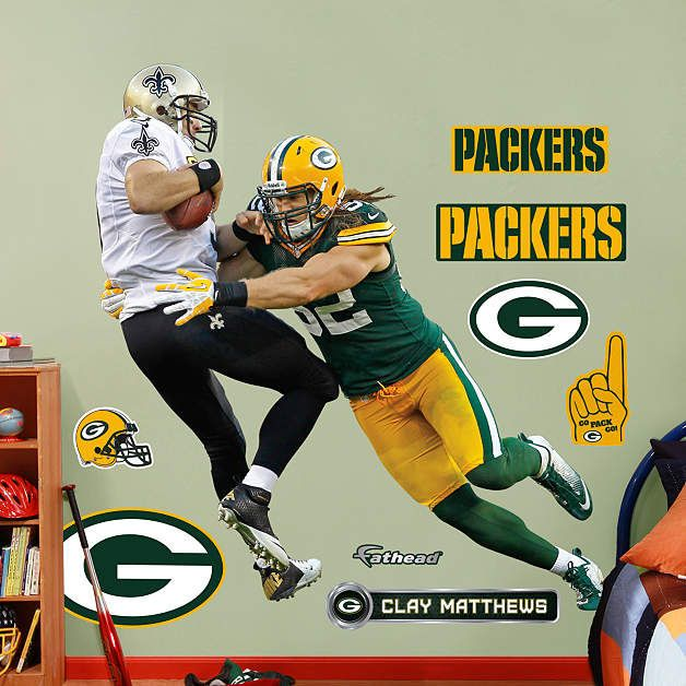 Fathead Green Bay Packers Clay Matthews Takes It   Wall Sticker Outlet Part 87