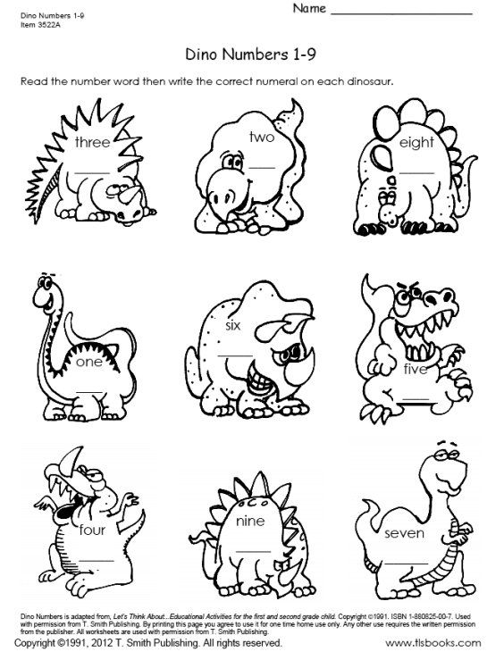 Dinosaur Numbers 1-9 and 10-18 worksheet set ~Freebie