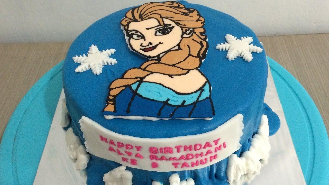 Frozen Elsa Cake Buttercream Steam Transfer Frozen Ulang