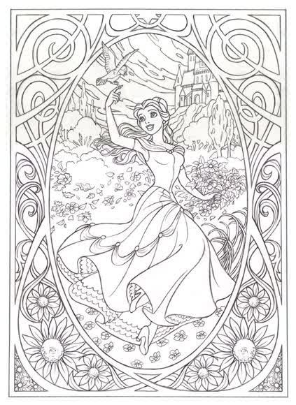 Belle Beauty And The Beast Colouring Page