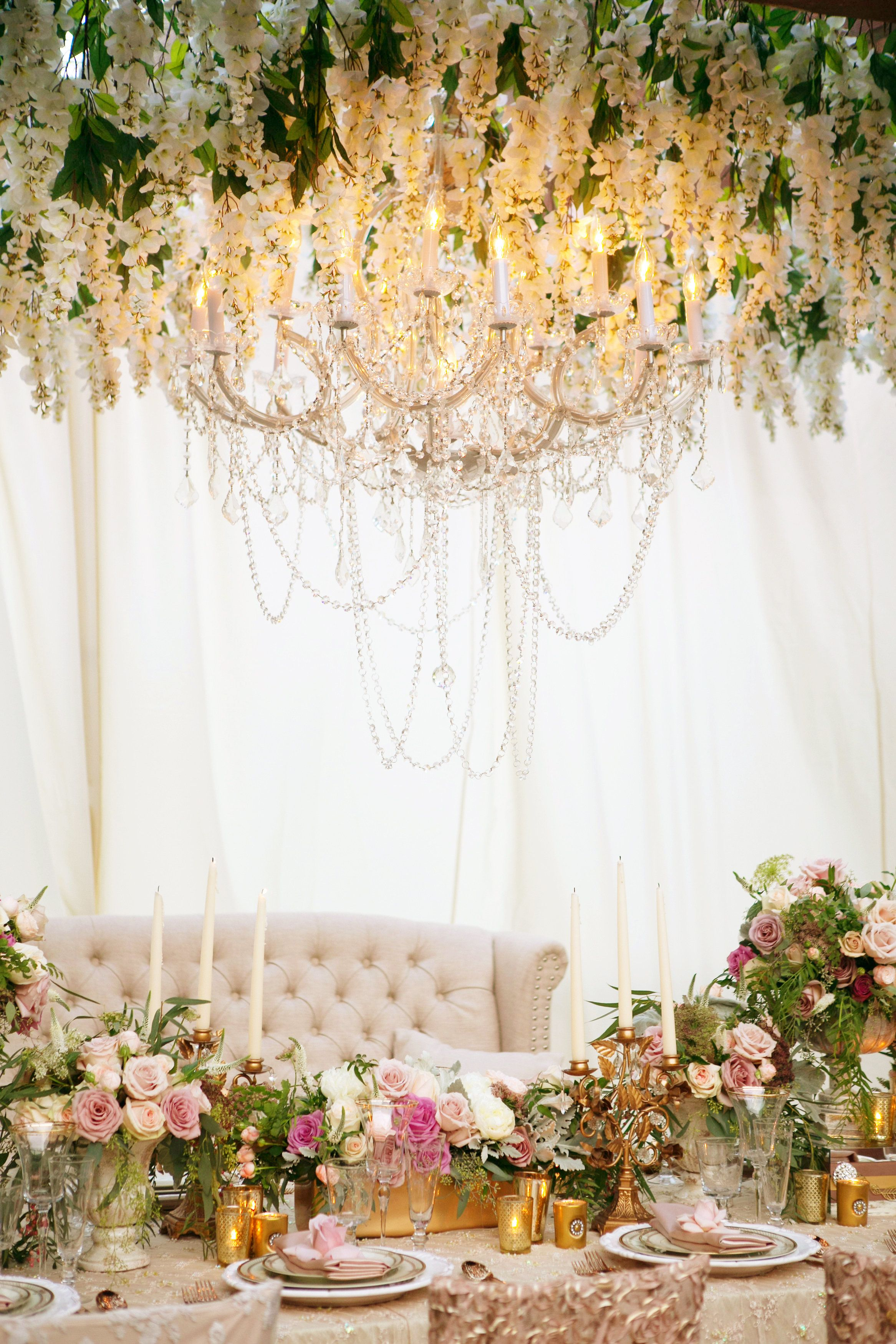 Blush and gold décor, tufted sofa and chandelier | My Treasure ...