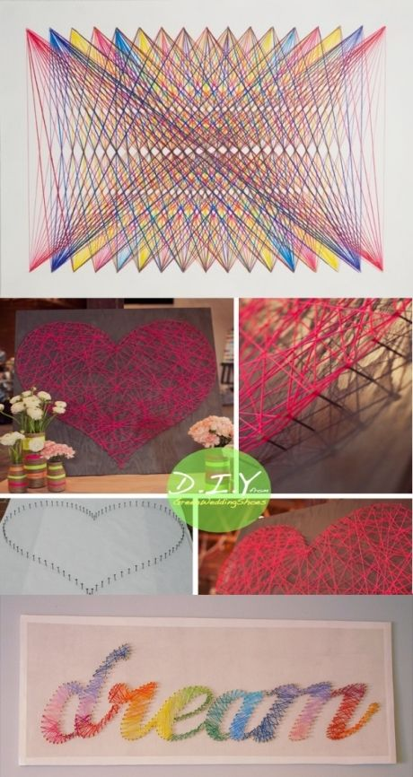 Lots of DIY ideas. Bookshelf bookmarker, string art, mug designs ...