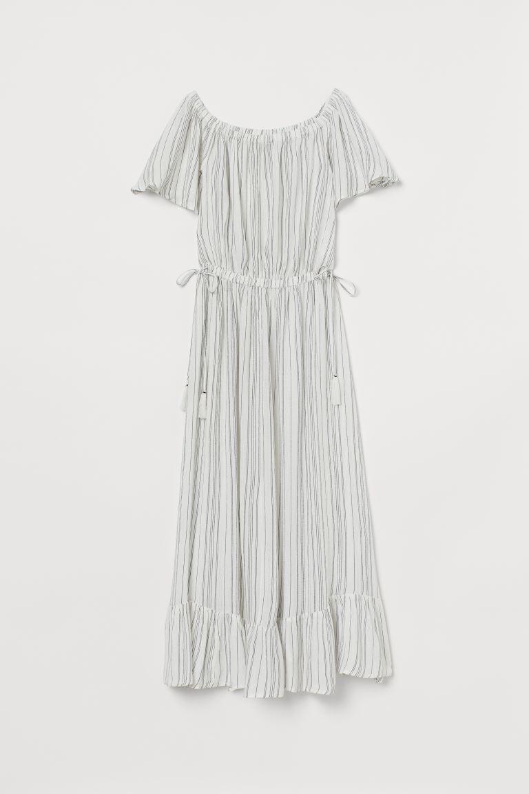 Off Shoulder Kjole Hvid Stribet Dame H M Dk In 2020 Shoulder Dress Dresses Fashion