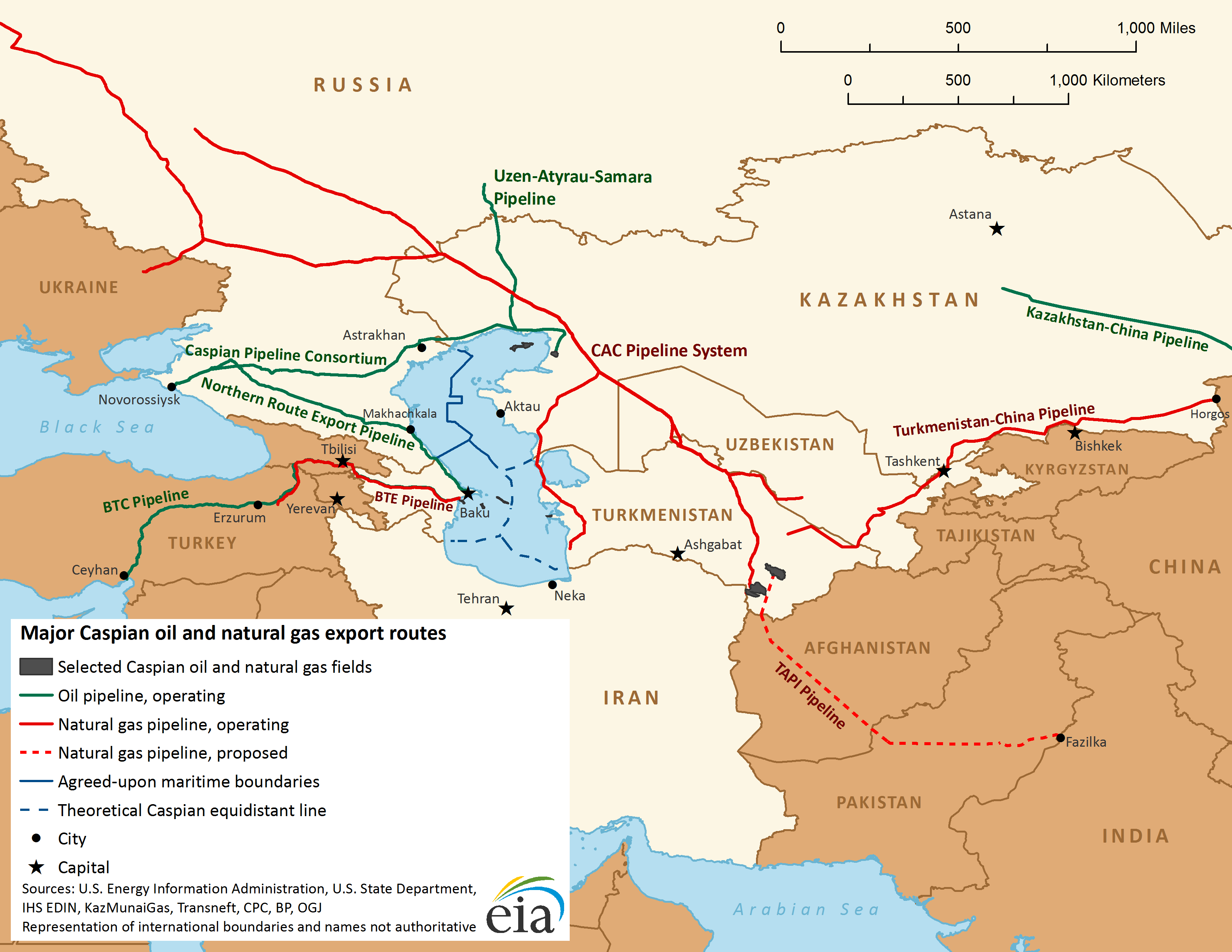 Map of major Caspian oil and natural gas export routes  Central