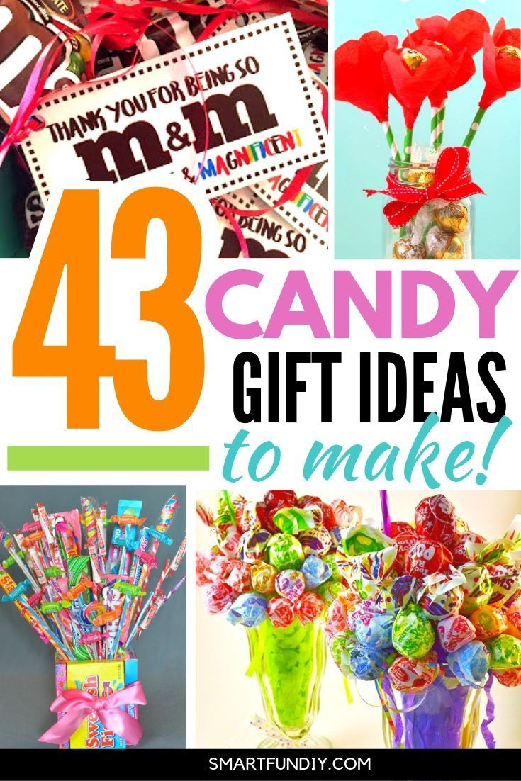 43+ cheap candy gift ideas to MAKE for teachers, graduation, coworkers,  ... for every holiday gift idea. I am so going to SAVE these clever affordable candy gift ideas to DIY gifts for my friends and family with supplies from the dollar store #smartfundiy #candy #gift #dollarstore #affordable #cheap #giftidea