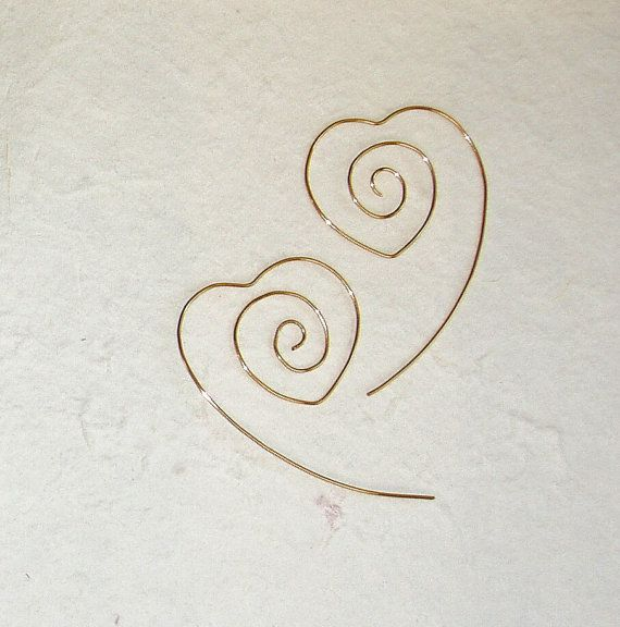 Heartshaped earrings  heart  wire earrings  Saint by JazzFeathers, $18.00