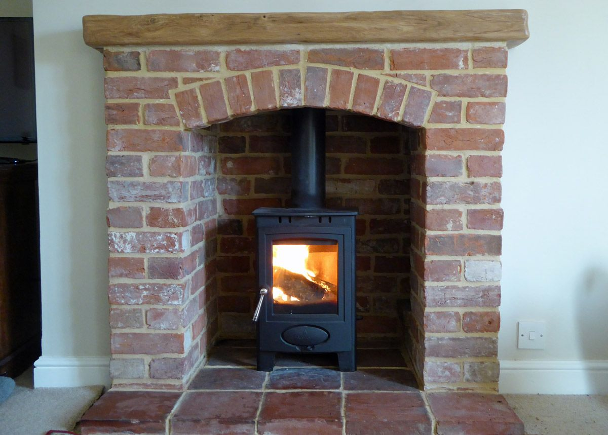 Reclaimed Norfolk Red Brick Fireplace Pamment Hearth And Arrow Stove