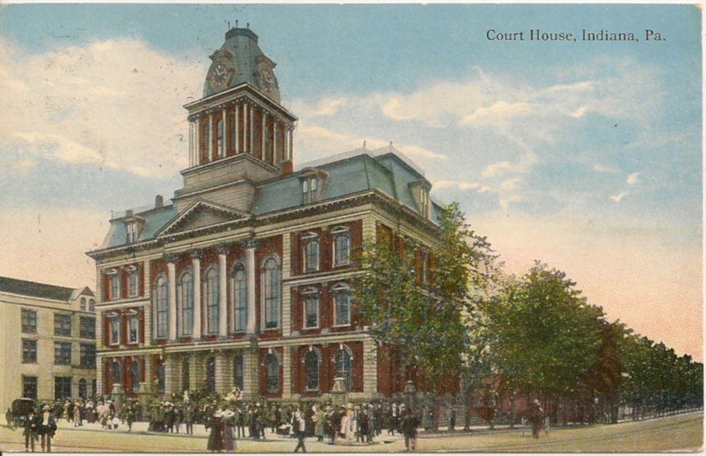 Court house indiana pa postcard 1916 courthouse indiana
