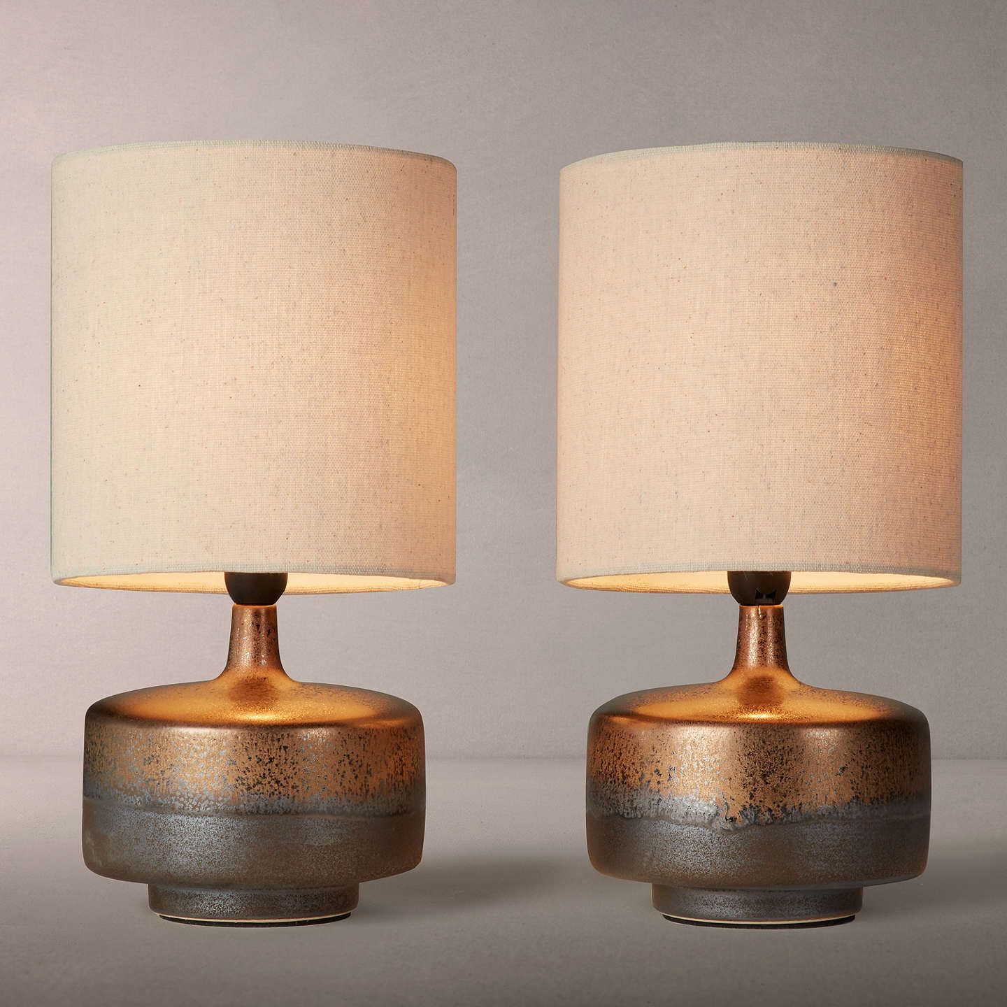 John Lewis Partners Delaney Metallic Glaze Ceramic Table Lamp Set Of 2 Metal Table Lamps Side Table Lamps Black Table Lamps