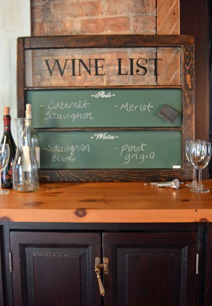 This functional wine list chalkboard is made from a vintage window.  Hand painting on the glass and chalkboards adds character.  Chalkboard is magnetic.  From Second Chance Art & Accessories®