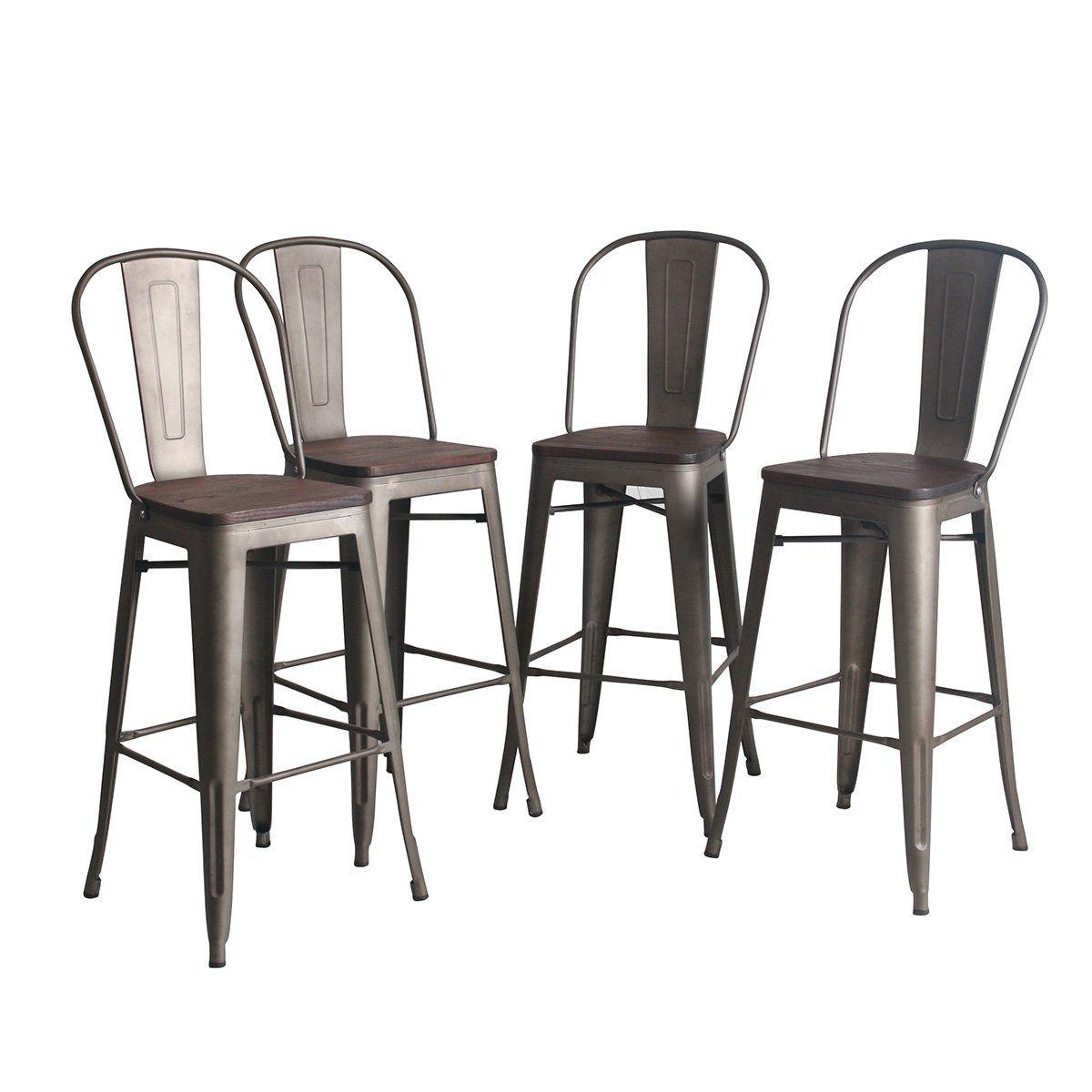 Yongqiang Metal Barstools Set Of 4 Indoor Outdoor Bar Stools High