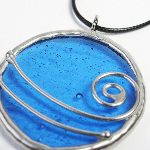Tidal Wave - Cobalt Blue Stained Glass Pendant with Black Cord by faerieglass