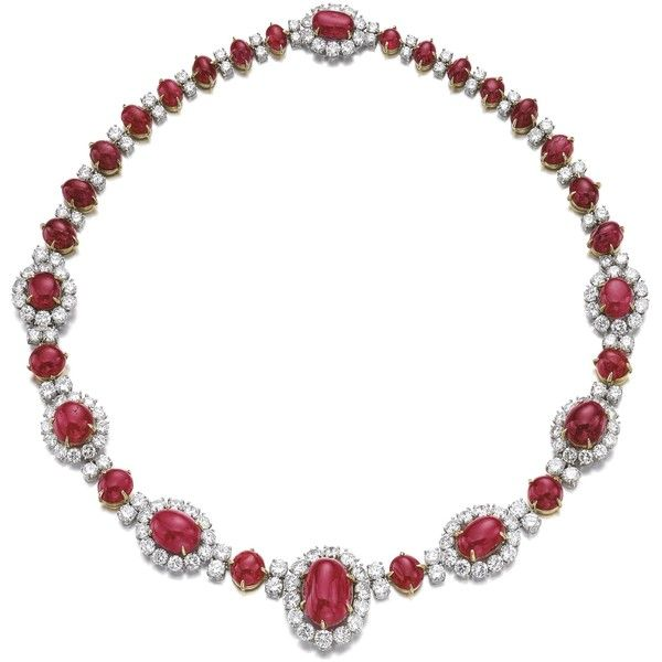 Ruby and diamond necklace, Van Cleef & Arpels, 1969 | Lot | Sotheby's ❤ liked on Polyvore featuring jewelry, necklaces, jewelry sets, joias, ruby jewelry, ruby necklace, ruby jewelry set, ruby diamond necklace and van cleef arpels jewelry