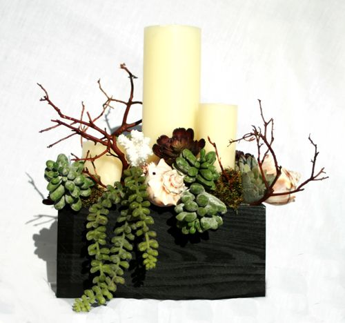 Christmas Succulent Centerpieces.Succulents And Candles For Tables With A White Or Light