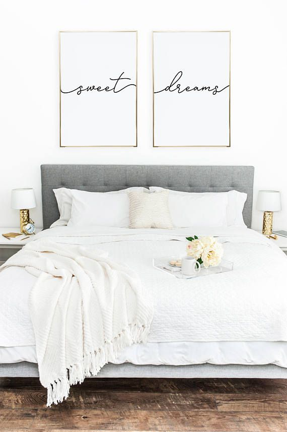 Above Crib Art Set Of 2 Prints Minimalist Poster Bed Decor Nursery Print Bedroom Wall Sweet Dreams Pinterest