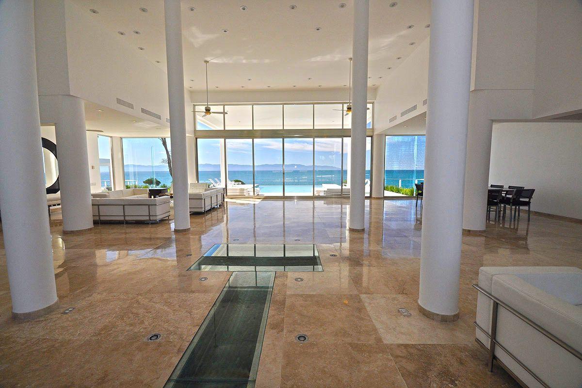 Villa in Puerto Vallarta, love the pink marble floors!