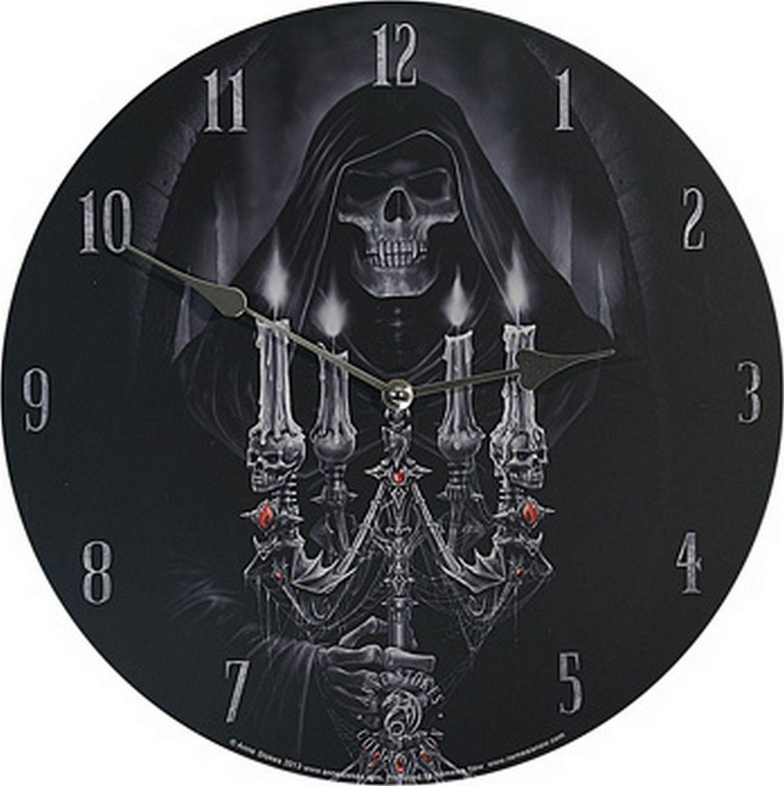 Uhr Candelabra by Anne Stokes Figur Reaper Totenschädel Wanduhr 34 cm