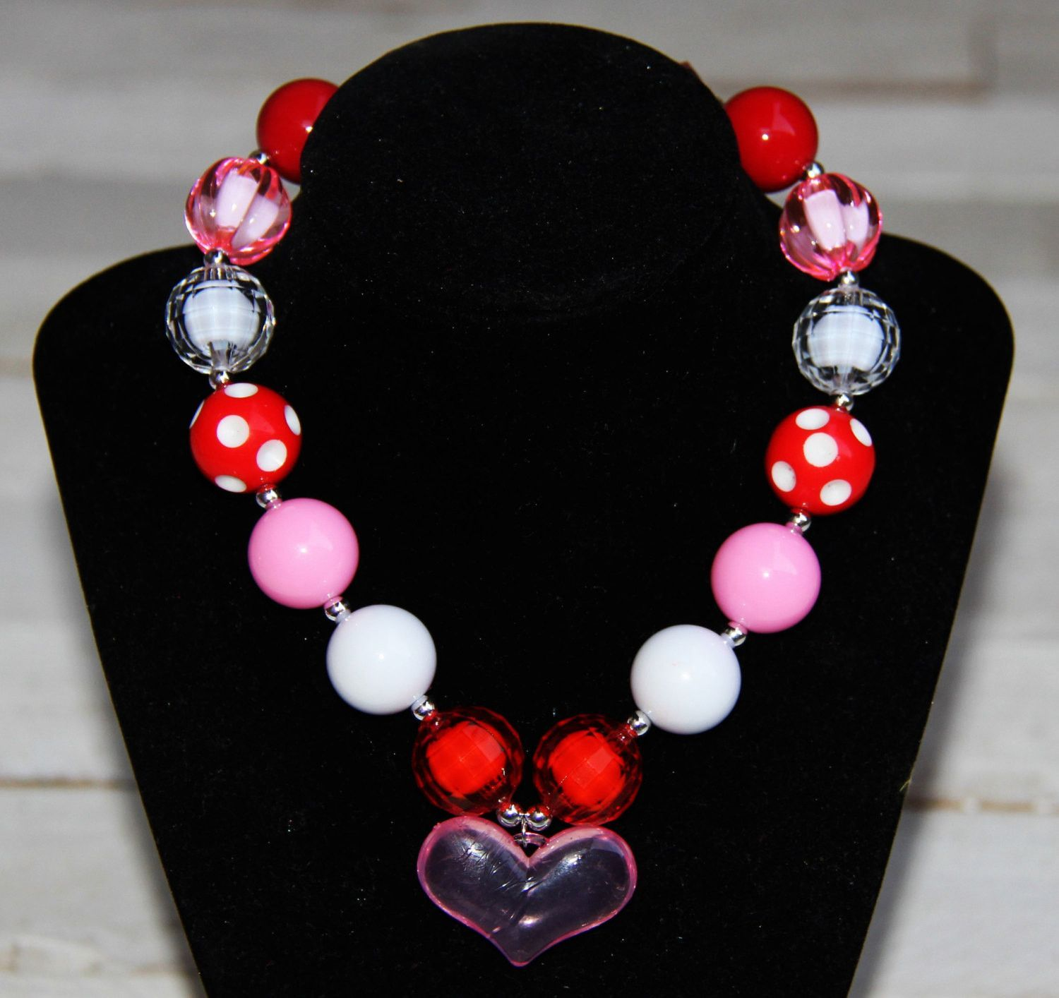 Baby //Girl Bubblegum Necklace Red White Valentine Day Chunky Necklace