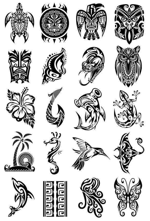 Small Maori Tattoo Designs: Island Ink Temporary Tattoo Set