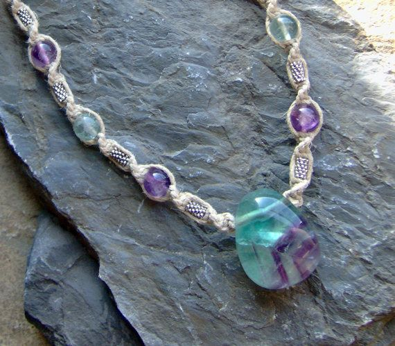 How To Make Hemp Necklaces: Hemp Necklace W/ Flourite Stone - Hemp Jewelry Natural
