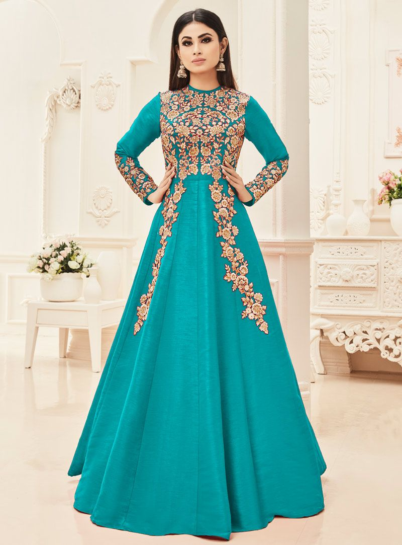 Mouni roy turquoise silk long anarkali suit mouni roy