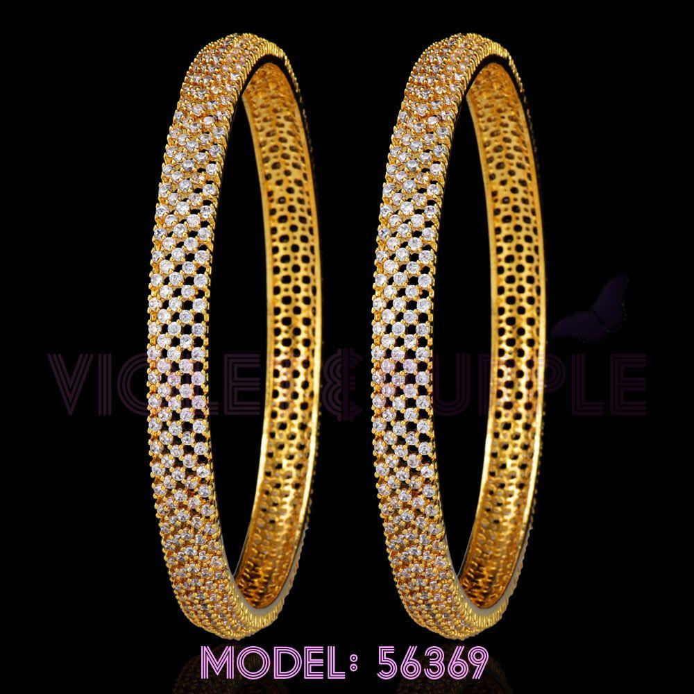 Set of 2  2.4 size Rich AD Bangle Set Lily Flower Design American Diamonds