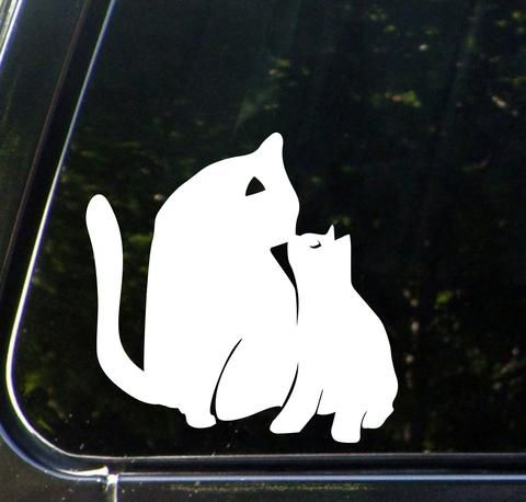 CAR Cat Mom And Baby Kitten Kiss D Car Vinyl Decal Sticker - Vinyl decal cat pinterest