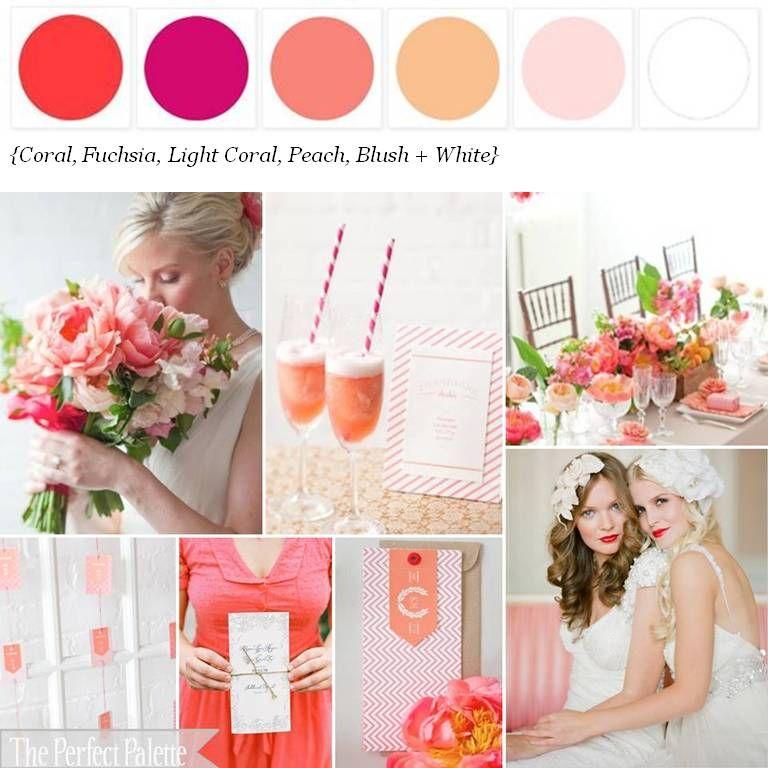 Coral, Fuchsia, Light Coral, Peach, Blush Pink And White