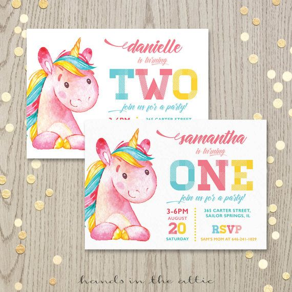 Printable Unicorn Birthday Party Invitation First Second Ideas Baby Invite Customized