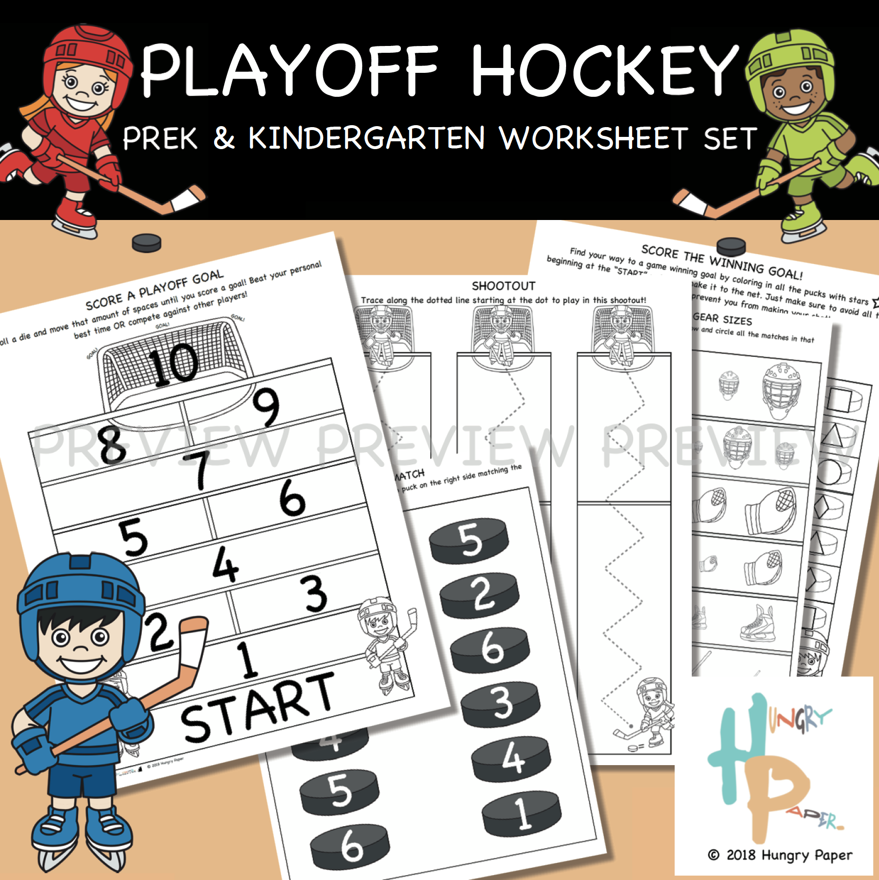 Playoff Hockey Prek Amp Kindergarten Worksheet Set