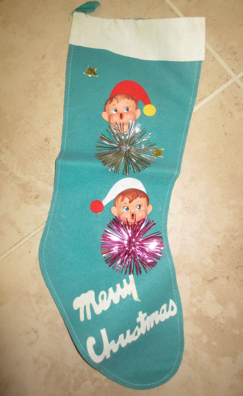 Bradford christmas ornaments - Details About Adorable Vintage Felt Christmas Elf Boy Stocking
