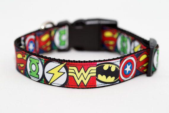 3398bb6a4a20 Australian Made Superhero Dog Collar - Batman, Superman, The Avengers,  Wonderwoman, Flash