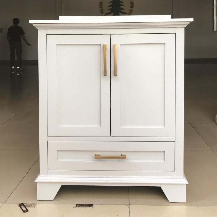 Allen Roth Hamburg 24 In White Single Sink Bathroom Vanity With Bombay White Culture In 2020 Single Sink Bathroom Vanity Bathroom Sink Vanity 30 Inch Bathroom Vanity