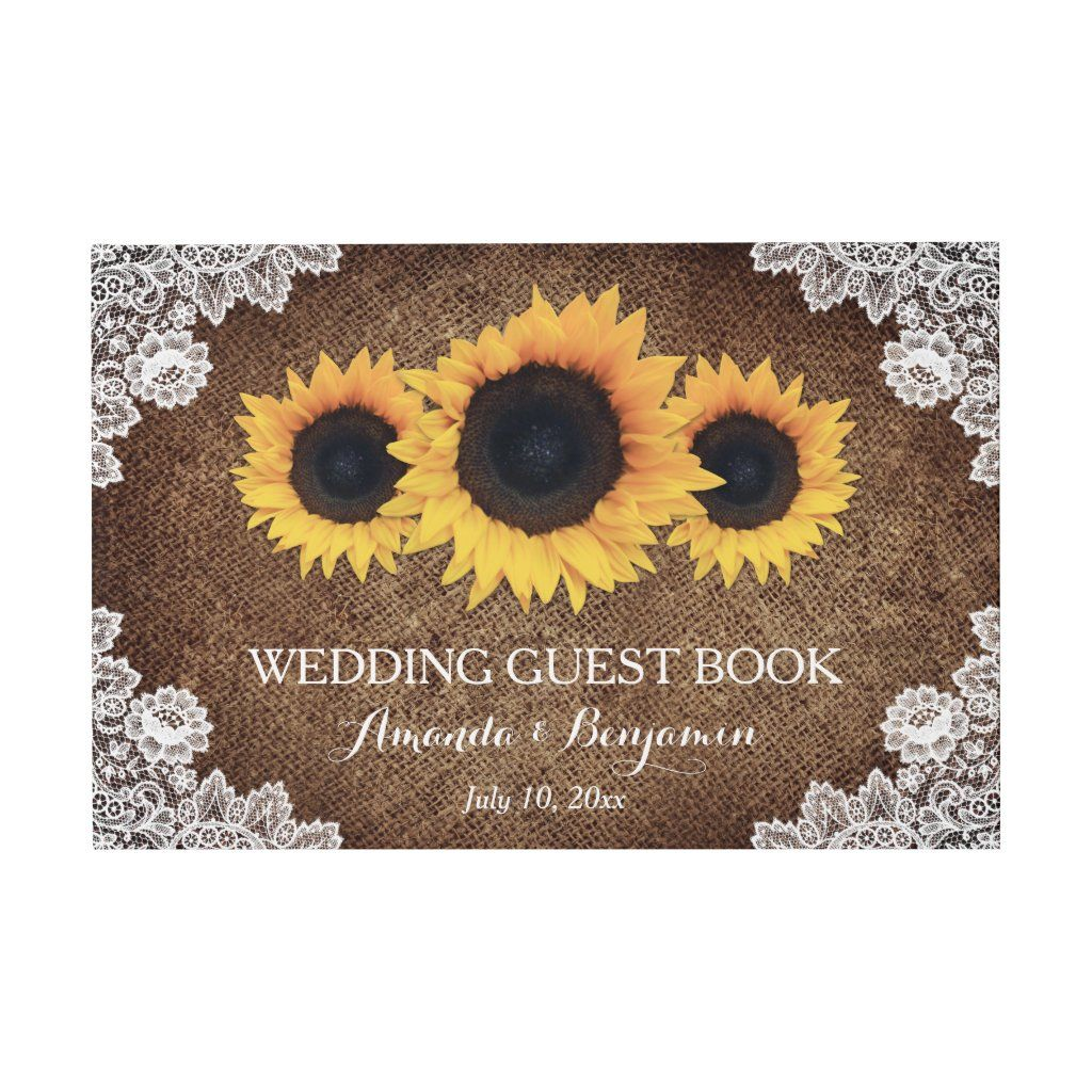 Burlap Lace and Sunflower Wedding Guest Book in 2020