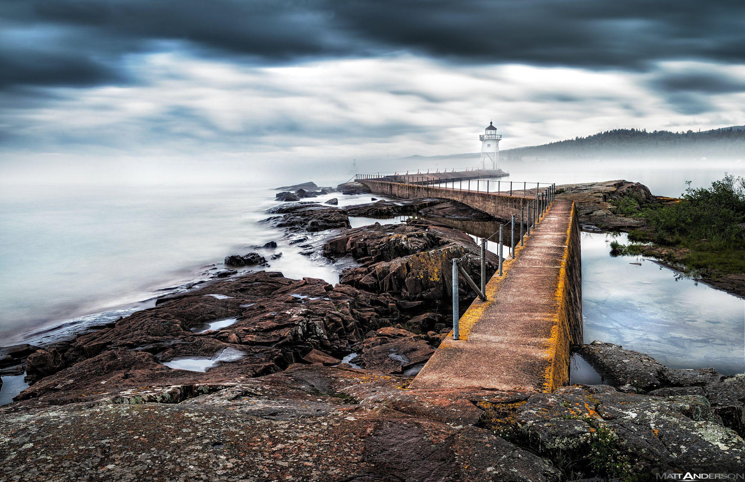 Grand Marais Lighthouse in Fog by Matt Anderson Small