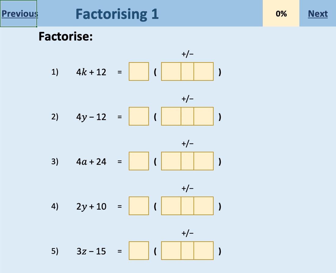 An Electronic Self Checking Worksheet For Practising Factorising Worksheets Math Resources Electronics [ 896 x 1101 Pixel ]
