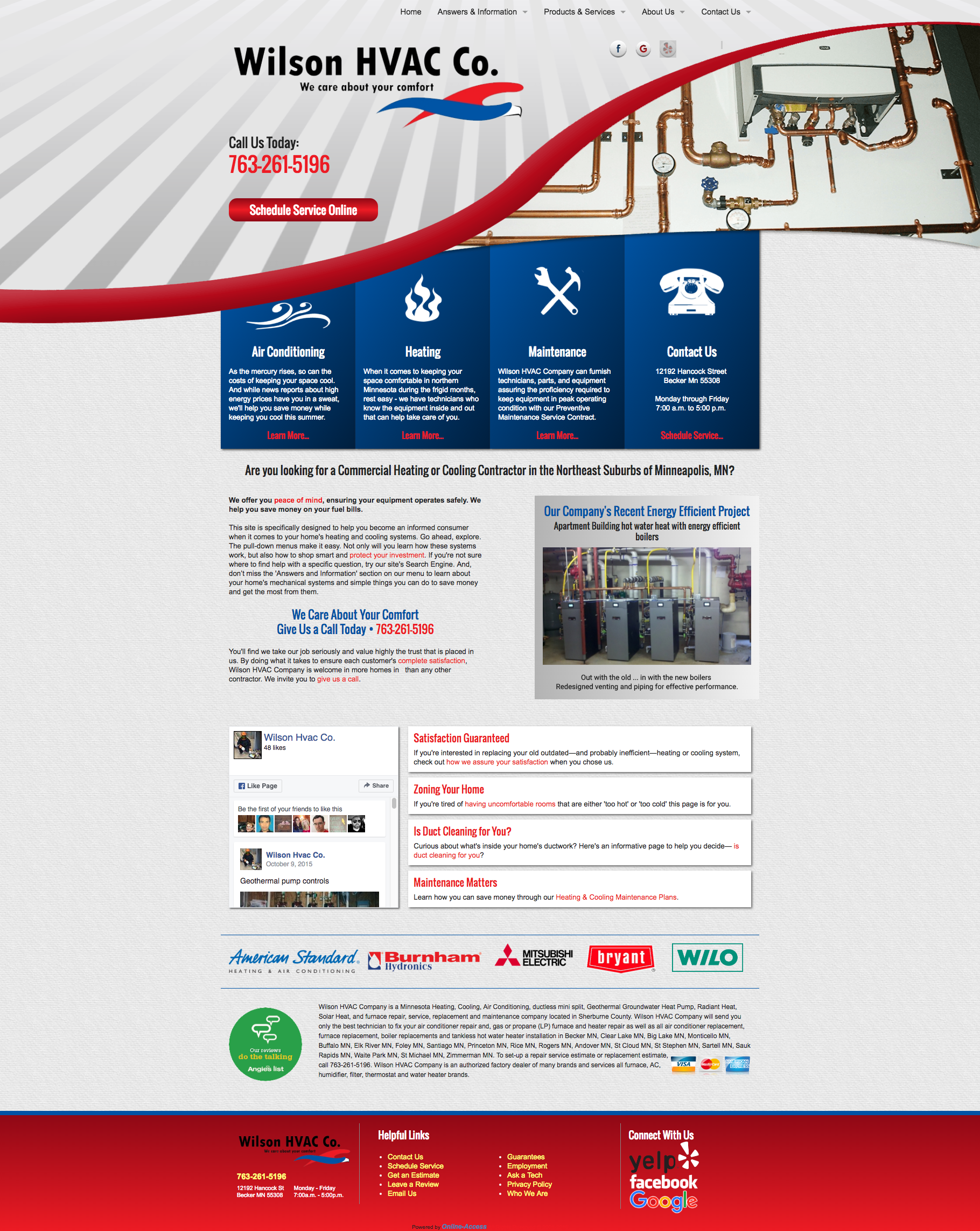 Wilson Hvac Co Becker Mn Heating And Air Conditioning Hvac