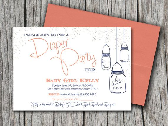 Diaper Party DIY Invitation Template Peach Orange Navy Blue Mason