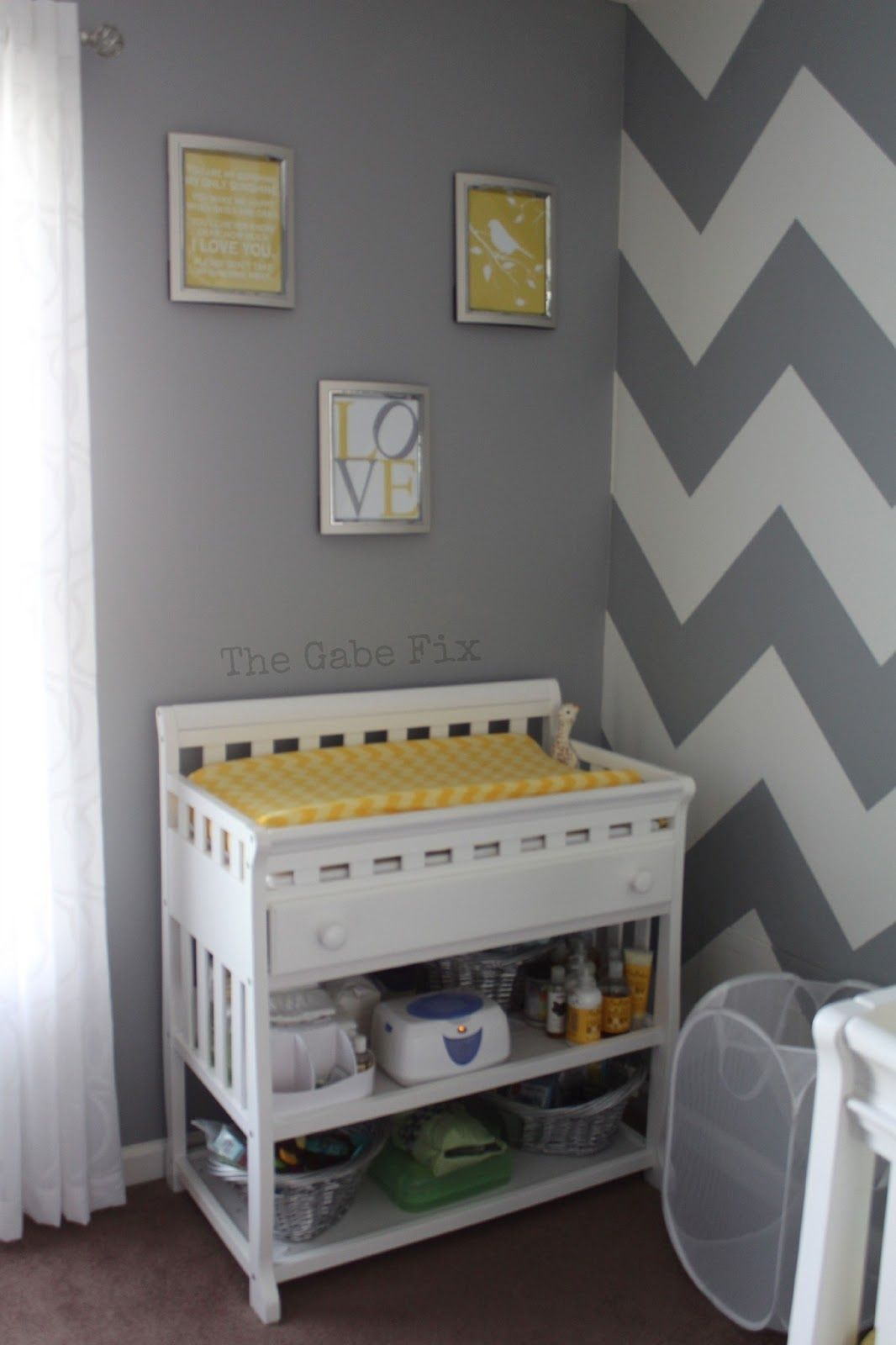 Yellow and gray nursery curtains - Ahhhh Gray Chevron Walls With Yellow Accents