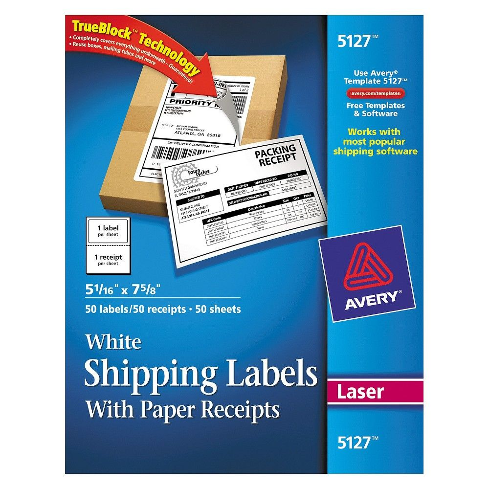 Avery Shipping Labels With Paper Receipt, 5 1/16 X 7 5/8
