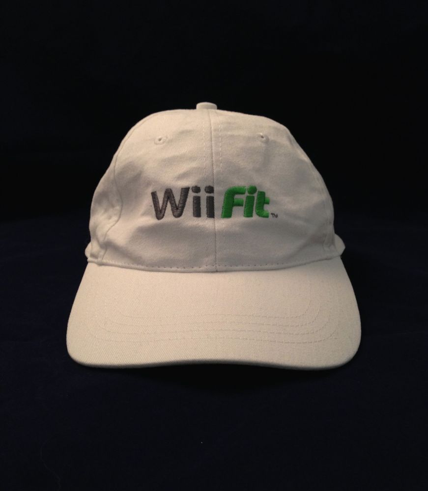 bdb5c965d Wii Fit Baseball Hat Cap White Logo Nintendo Computer Exercise ...