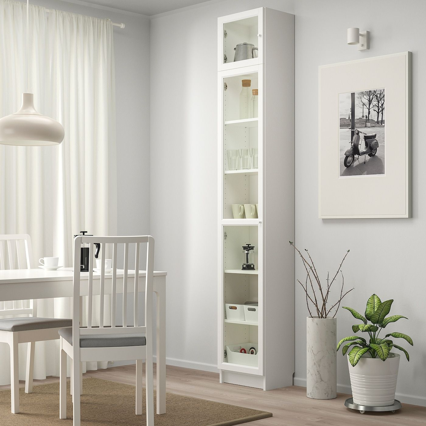 Billy Oxberg Bookcase With Glass Door White Glass 15 3 4x11 3 4x93 1 4 Ikea In 2020 Bookcase With Glass Doors Billy Bookcase Bookcase
