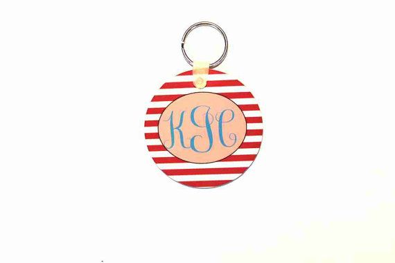 round key chain monogram key chain gifts for her by CBreezeDesign