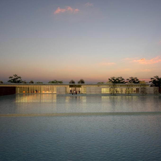 Clark Center from reflecting pool. Rendering: Tadao Ando Architect & Associates.