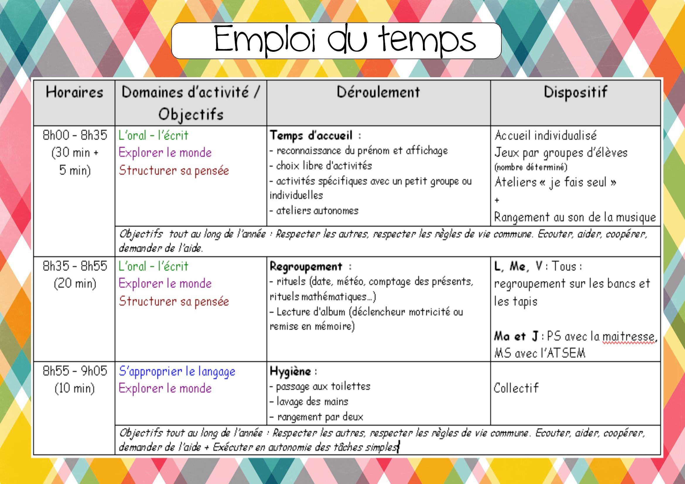 Cahier Journal Et Emploi Du Temps Emploi Du Temps Cahier Journal Maternelle Journal De Classe Enseignant