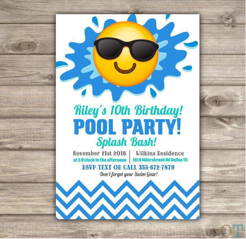 Pin by Amanda G on Pool Shark Ocean Party Theme Pinterest - birthday invitation swimming party