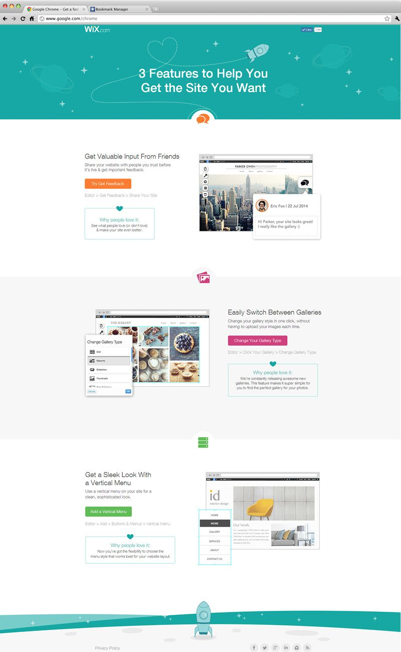 3 Features To Help You Get The Site You Want Wix Landing Page Wix Photography Business Social Media Apps