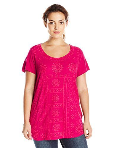 Lucky Brand Women's Plus-Size S'slv Embroidered Shirt ...