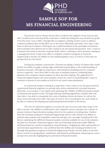 sample sop for ms financial engineering Phd, Financial