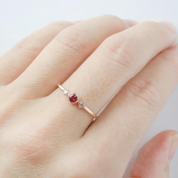 Photo of Vintage inspired Ruby three stone ring, Genuine Ruby engagement ring, Unique ruby engagement ring, Dainty small ruby, solid 14k gold